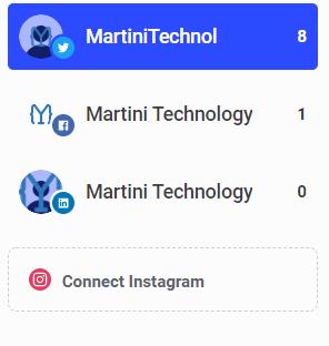 Martini Technology's social accounts in Buffer
