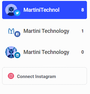 Martini Technology's social accounts in Buffer