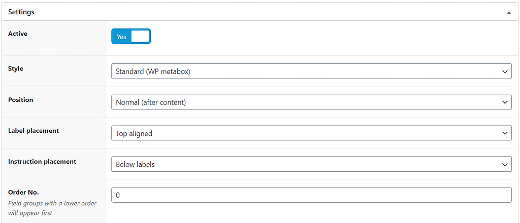Custom field post message settings